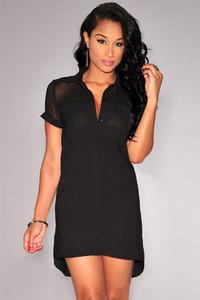 Black Button Down Short-sleeve Shirt Dress