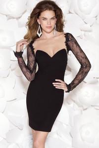 Black Sheer Lace Splice Cocktail Mini Dress