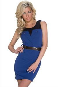 Blue Black Shoulder Belted Mini Dress