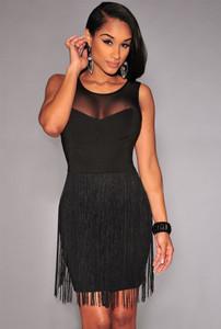 Black Mesh Accent Fringe Mini Dress