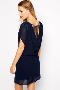 Blue Cowl Neck Back Shift Dress