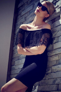 Black Eyelash Lace Top Bardot Mini Dress