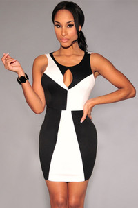 Black White Color-Block Mini Dress