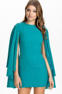 Cascading Flared Sleeves Cyan Mini Dress