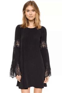Black Flared Sleeves Chiffon Mini Dress