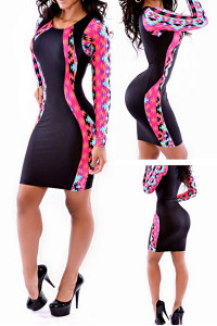 Black Tribal Patchwork Mini Dress