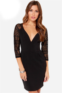 Black Lace Sleeve Mini Dress
