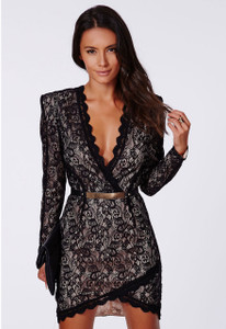 Black Eyelash Lace Wrap over Mini Dress