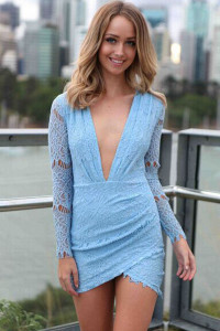 Baby Blue Charming Lace Mini Dress