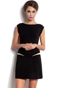 Black Stretch Mesh Insert Mini Dress