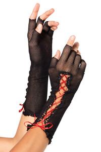 Black Red Lace up Fishnet Fingerless Gloves
