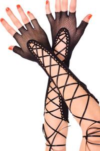 Black Lace up Fishnet Fingerless Gloves