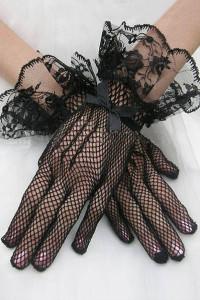 Black Flaring Lace Cuffs Fishnet Gloves