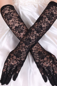 Black Stretch Lace Opera Length Gloves