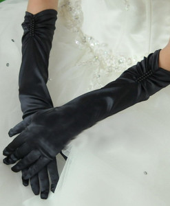Black Elbow Length Pearl Satin Gloves