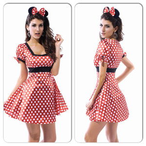 SEXY ADULT WOMANS MINNIE MOUSE FAIRYTALE HALLOWEEN COSTUME ONE SIZE