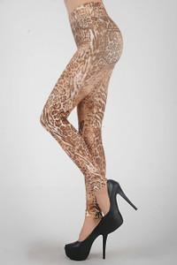 Sexy Brown Gold Leopard Cheetah Animal Print Leggings