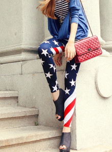 Sexy Red White Blue American Flag Striped Star Leggings