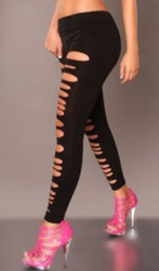 Sexy Black Laser Cut Out Getting Ripped Slashed Leggings Pants