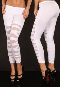 Sexy White Ripped Cut Out Slashed Leggings Pants