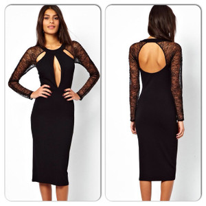 Sexy Black Lace Panel Cut Out Mesh Lace Midi Dress