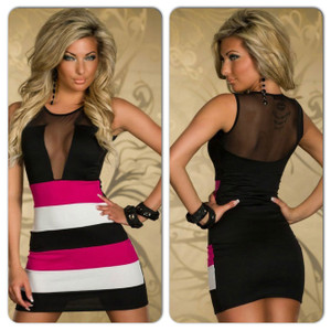 Sexy Black Pink Open Back Lace Mesh Color Block Bodycon Mini Dress
