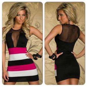 Sexy Black Pink Open Back Lace Mesh Color Block Bodycon Mini Dress