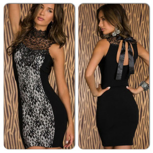 Sexy Black White Lace Bodycon Satin Halter Tie Up Dress
