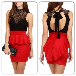 Sexy Black Red Open Back Lace Peplum Mini Dress