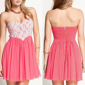 PInk Peach Heart Lace High Waist Dress