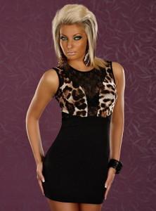 SEXY Black Leopard Cocktail Mesh Top Mini Tube Dress