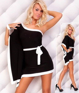 Sexy Little Black White Kimono Color Block One Shoulder Clubwear Dress