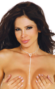 Sexy Neck Breast Rhinestone Loop Lariat Necklace Chain