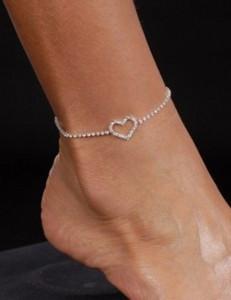 Sexy Silver Fashion Costume Body Jewelry Rhinestone Diamond Heart Anklet