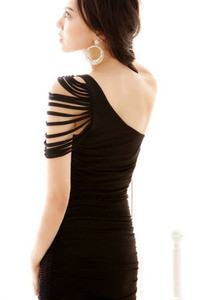 Sexy Black One Shoulder Pleated Ruched Dress Ripped Sleeve