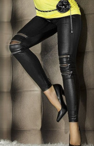 Sexy Black Ripped Cut Out Slashed Zipper Wet Look Leggings