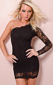 SEXY One Shoulder Black Lace Mini Dress Party Dancer Clubwear