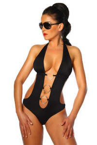 Sexy Black Monokini With O-Rings