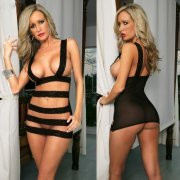 Sexy Lingerie Black Open Cut Out Teddie Dress