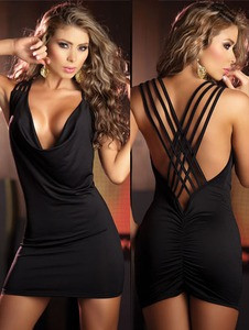 Sexy Open String Back Tank Top Black Club Party Mini Dress