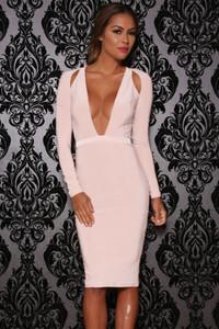 Pink Shoulder Cutout Long-Sleeve Jersey Dress