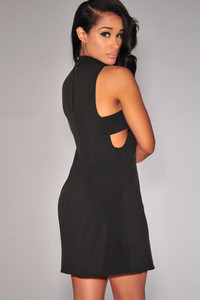 Black Mock Neck Cut-out Sides Jersey Dress