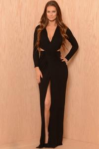 Black Long Sleeve V Neck Floor-length Jersey Dress