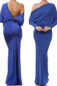 Blue Convertible Multiway Jersey Maxi Dress