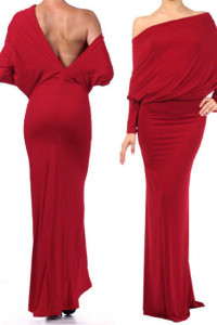 Red Convertible Multiway Jersey Maxi Dress
