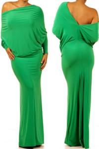 Green Convertible Multiway Jersey Maxi Dress