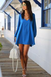 Blue Chiffon Leisure Mini Skater Jersey Dress