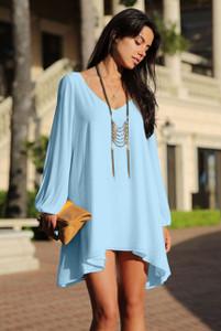 Light Blue Chiffon Leisure Mini Skater Jersey Dress