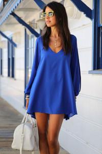 Navy Blue Chiffon Leisure Mini Skater Jersey Dress