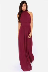 Modern Duchess Burgundy Jersey Maxi Dress